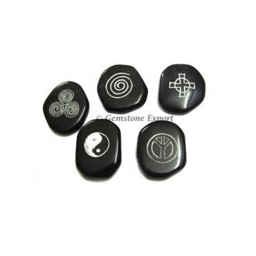 Reiki 5 Elements Black Agate Set
