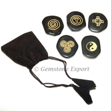 Ying Yang Wiccan Set in Black Agate