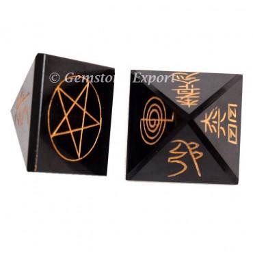 Black Agate Pyramids Usai Reiki Sets