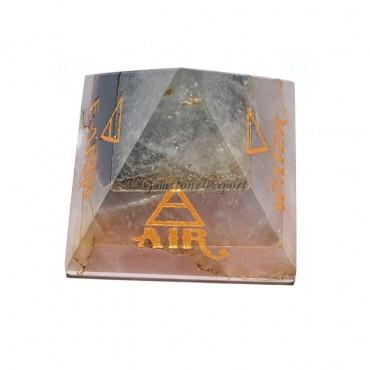 Rose-Amethyst-Crystal Bonded Element Pyramid Set