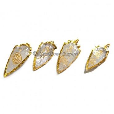 Crystal Quartz Arrowheads Reiki Set Pendants