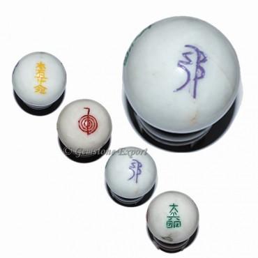 White Agtate Ball Usui Reiki Set
