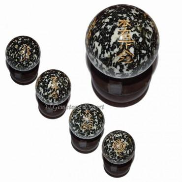 Black And White Spoted Ball Usui Reiki Set