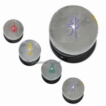 Crystal Quartz Usui Reiki Colorfull Ball Set