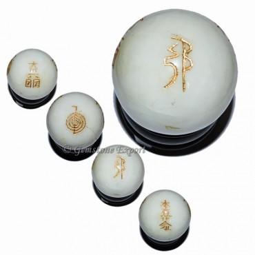 White Agate Stone Usui Reiki Ball Set