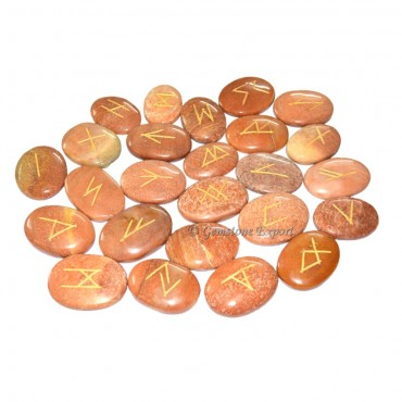 Peach Aventurine Oval Rune Set