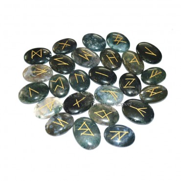 Moss Agate Oval Rune Set
