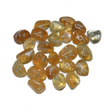 Citrine Tumbled Rune Set
