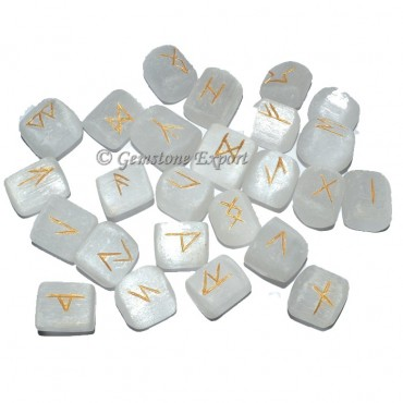 Selenite Tumbled Rune Set
