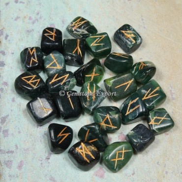 Green Jade Rune Divination Set
