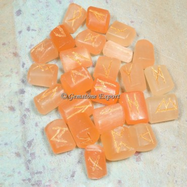 Orange Selenite Rune Divination Set