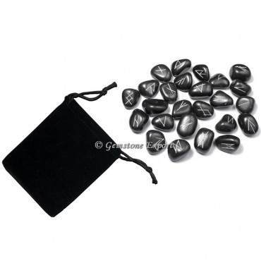 Black Agate Rune Set Silver Engraved
