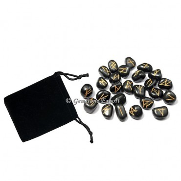 Black Agate Rune Set Golden Engraved