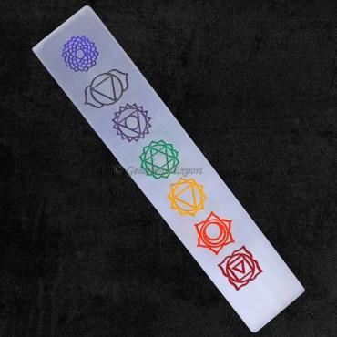 Selenite Colourful Engraved Chakra Wands