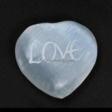 Engraved Love on Selenite Puffy Heart