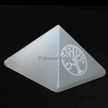 Selenite Pyramid With Engraved Tree Of Life