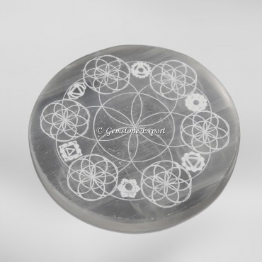 Seven Chakra With Flower Of Life Selenite Charging Circel