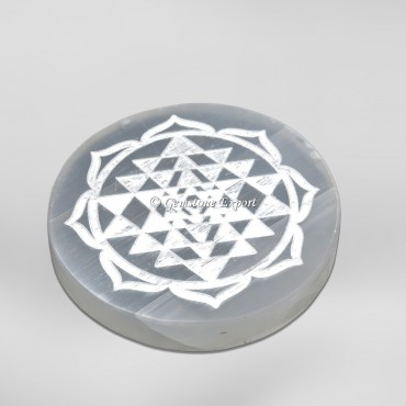 Yantra Engraved Selenite Charging Circle