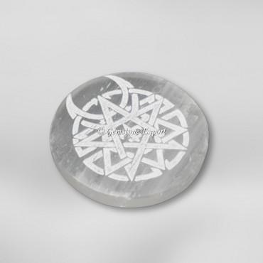 Caltic Sign Engraved Selenite Charging Circle