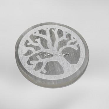 Tree Of Life Engraved Selenite Charging Circle
