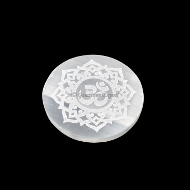 Selenite Plate With OM Engraved