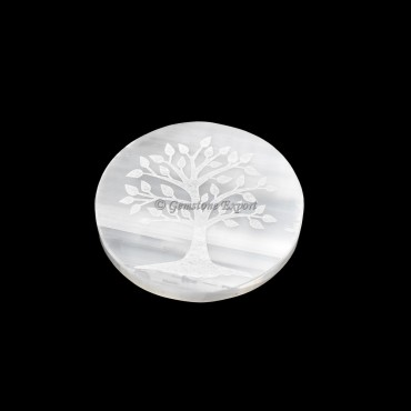 Selenite Plate With Tree Of Life Engraved