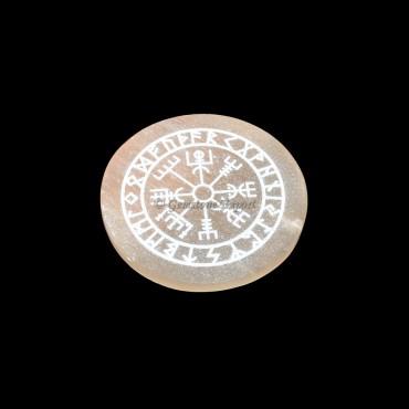 Orange Selenite Plate With Vegvisir Engraved