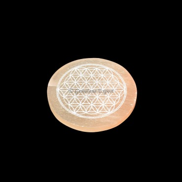 Orange Selenite Plate With Flower Of Life Engraved