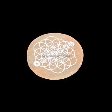 Orange Selenite Plate With Seven Chakra Symbols Engraved