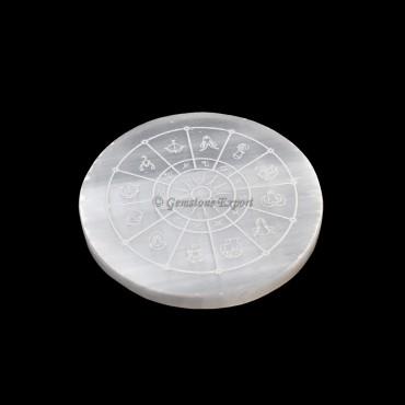 Selenite Plate With Zodiac Wheel Engraved