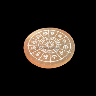 Orange Selenite Plate With Zodiac Wheel Engraved