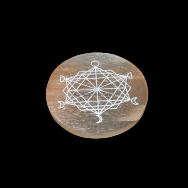 Orange Selenite Plate With Phases of Moon Engraved