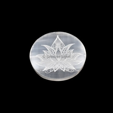 Selenite Plate With Lotus Engraved