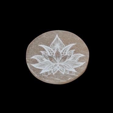 Orange Selenite Plate With Lotus Engraved