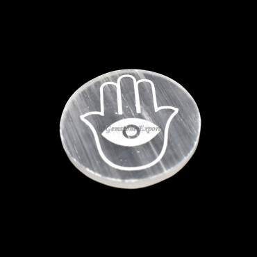 Selenite Plate With Hamsa Engraved