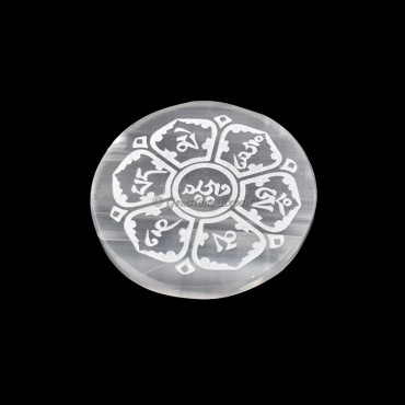 Selenite Plate With Om Mani Padme Hum Engraved
