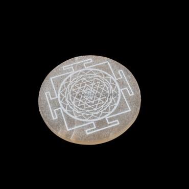 Orange Selenite Plate With Shree Yantra Engraved