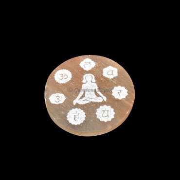 Orange Charging Selenite Plate With Seven Chakra Engraved