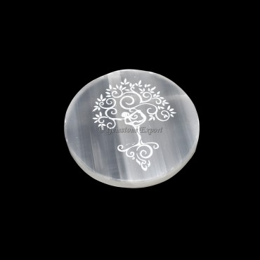 Charging Selenite Plate With Tree Of Life Engraved