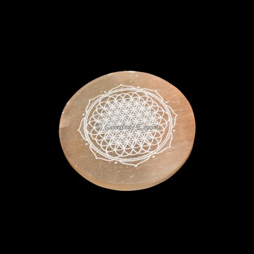 Orange Charging Selenite Plate With Flower Of Life Engraved