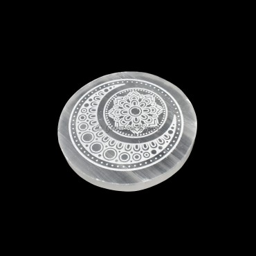 Charging Selenite Plate With Moon Engraved