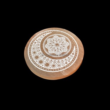 Orange Charging Selenite Plate With Moon Engraved