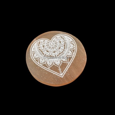 Orange Charging Selenite Plate With Heart Engraved