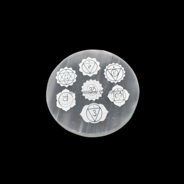 Charging Selenite Plate With Seven Chakra Engraved