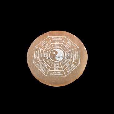 Orange Charging Selenite Plate With Yin and Yang Engraved