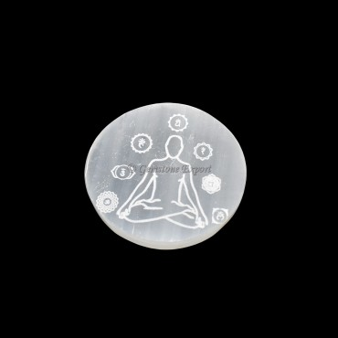 Charging Selenite Plate With Meditating Seven Chakra Engraved