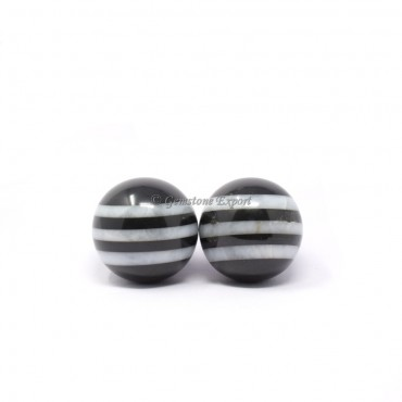 Black and White Agate Bonded Striped Spheres