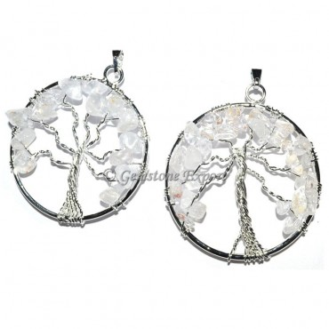 Crystal Quartz Tree of life Pendants