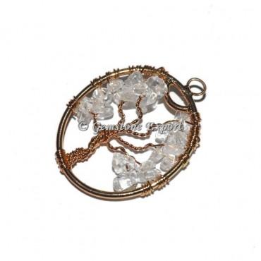 Crystal Quartz Copper Tree Of Life Pendants