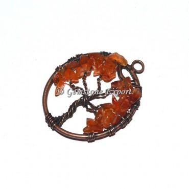 Carnelian Copper Tree Of Life Pendants